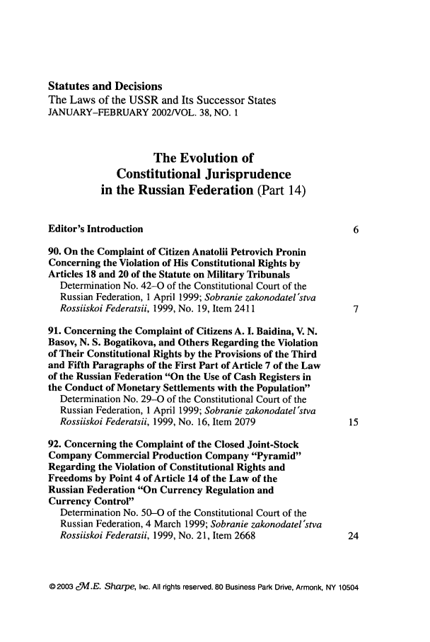 handle is hein.journals/stadlussr38 and id is 1 raw text is: Statutes and Decisions