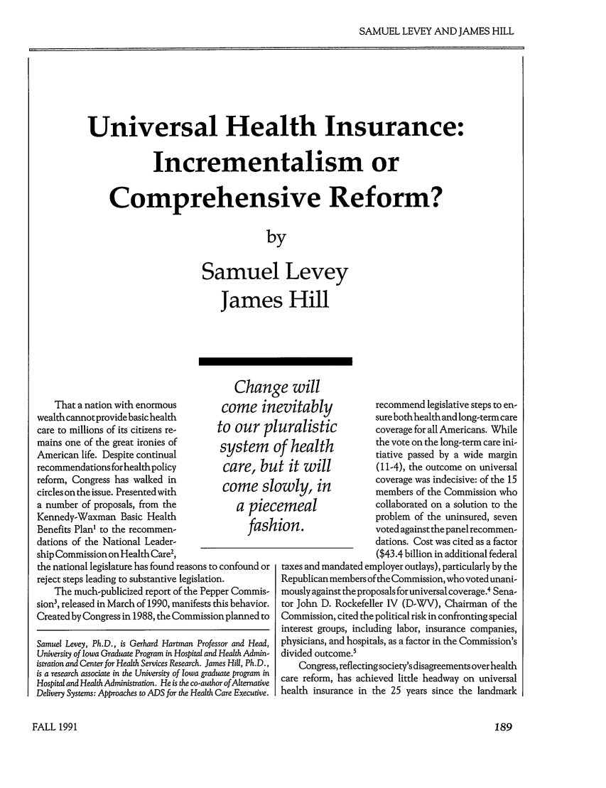 Universal Health Insurance: Incrementalism or ...