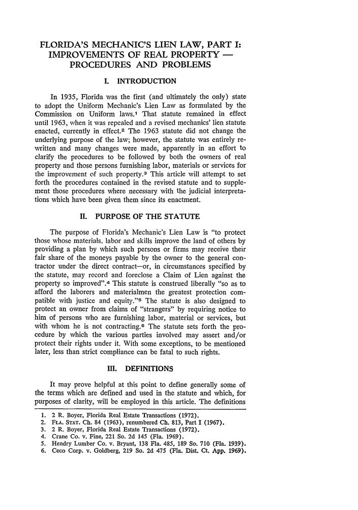 Florida's Mechanics Lien Law, Part I: Improvements of Real