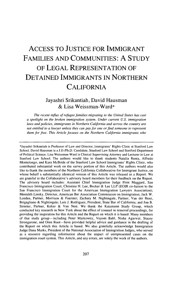 handle is hein.journals/stjcrcl11 and id is 219 raw text is: ACCESS TO JUSTICE FOR IMMIGRANT