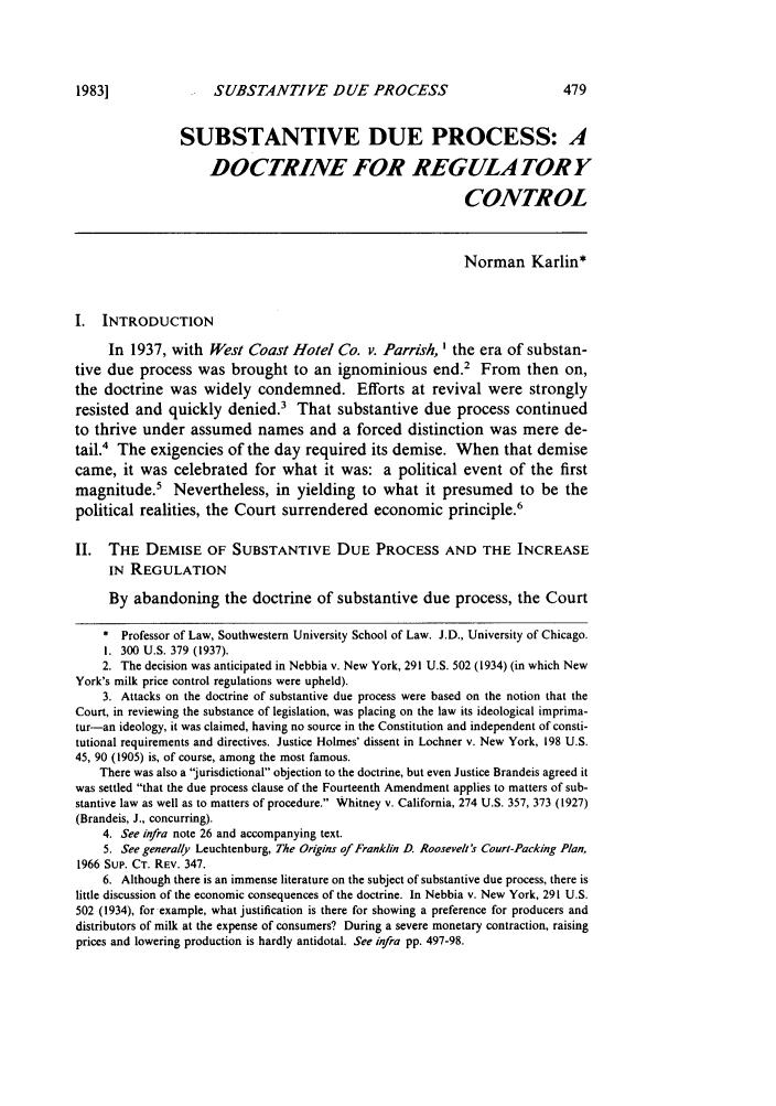 Substantive Due Process: A Doctrine For Regulatory Control