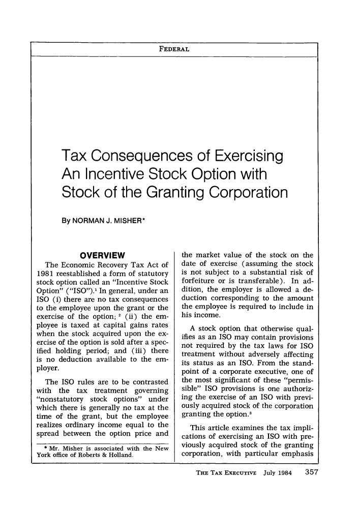 Contagem Taxas de câmbio: Stock Options And Tax Treatment A General Guide