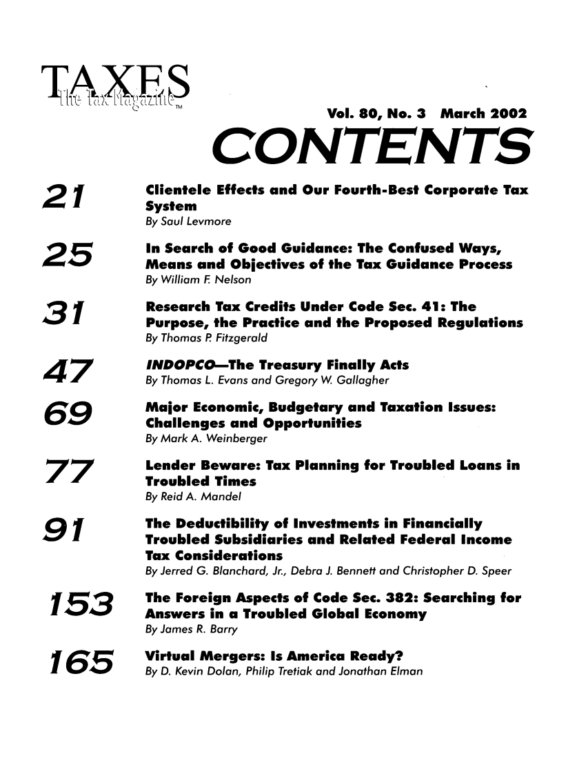 Table of Contents - Issue 3 80 Taxes - The Tax Magazine 2002