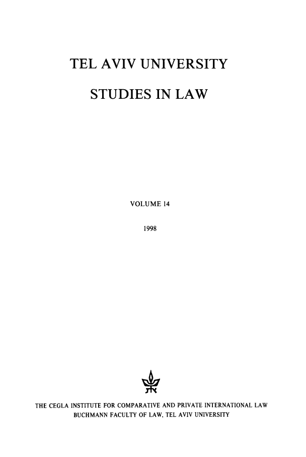 handle is hein.journals/telavusl14 and id is 1 raw text is: TEL AVIV UNIVERSITY