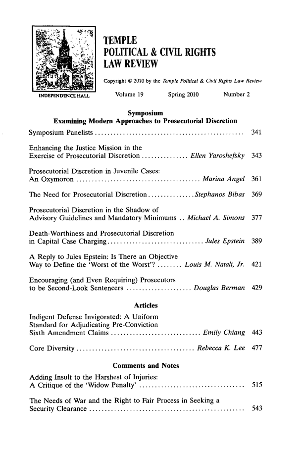 Table of Contents - Issue 2 19 Temple Political & Civil