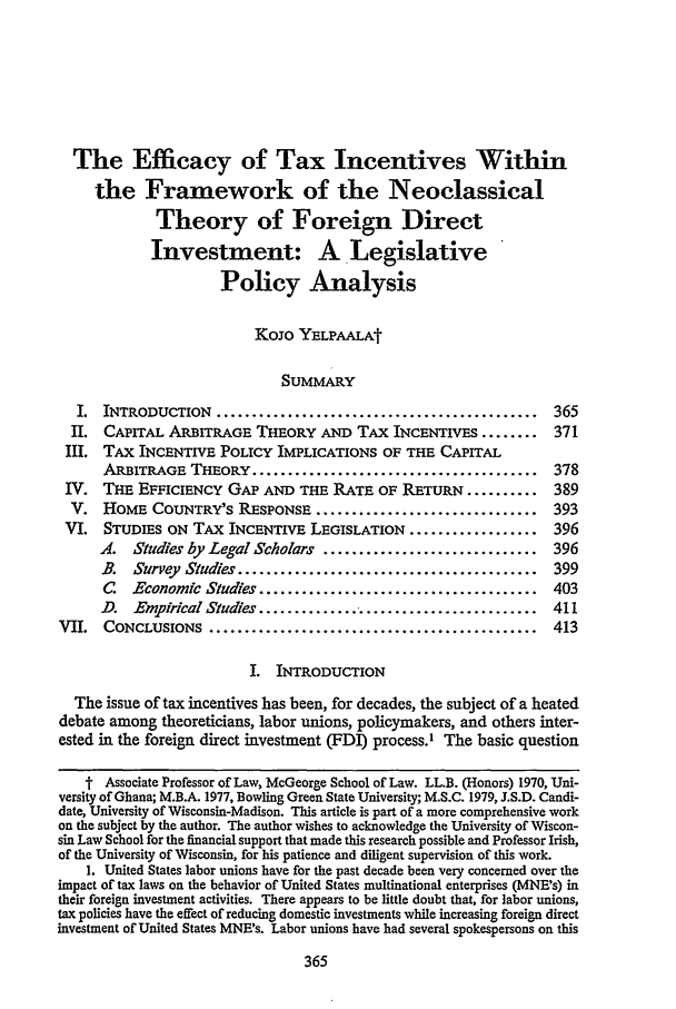 The Efficacy of Tax Incentives within the Framework of the