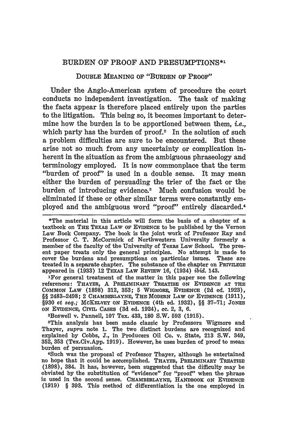 Burden of Proof and Presumptions 13 Texas Law Review 1934-1935