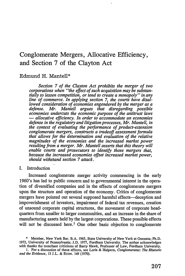 Conglomerate Mergers, Allocative Efficiency, and Section 7 ...