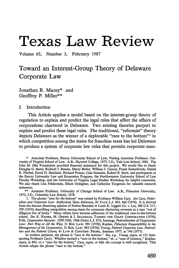 handle is hein.journals/tlr65 and id is 503 raw text is: Texas Law Review