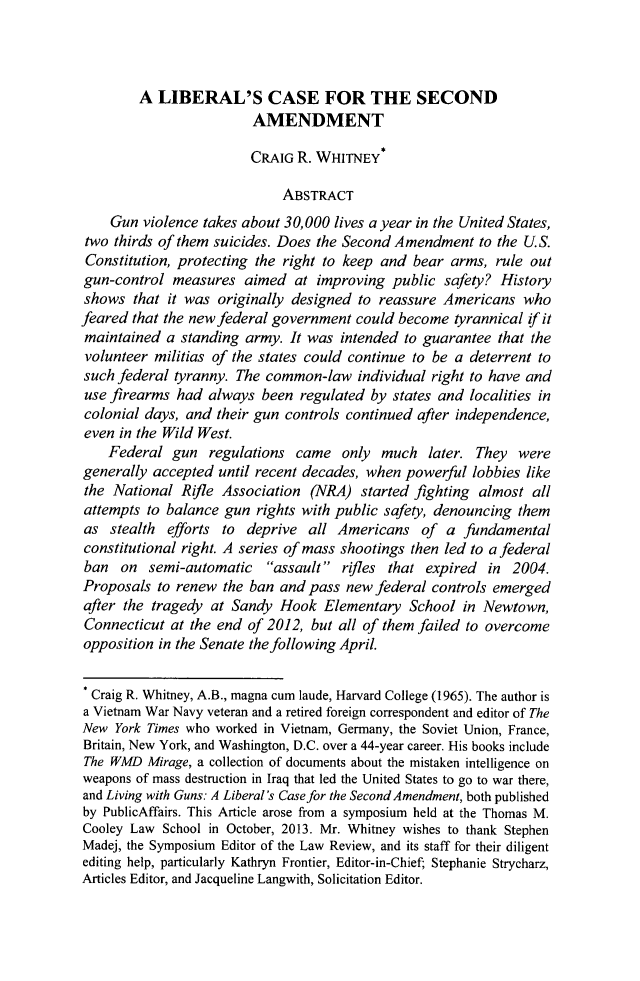 handle is hein.journals/tmclr31 and id is 33 raw text is: A LIBERAL'S CASE FOR THE SECOND