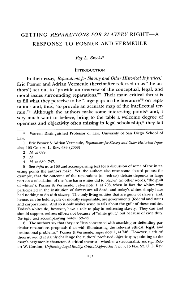 handle is hein.journals/tndl80 and id is 273 raw text is: GETTING REPARATIONS FOR SLAVERY RIGHT-A