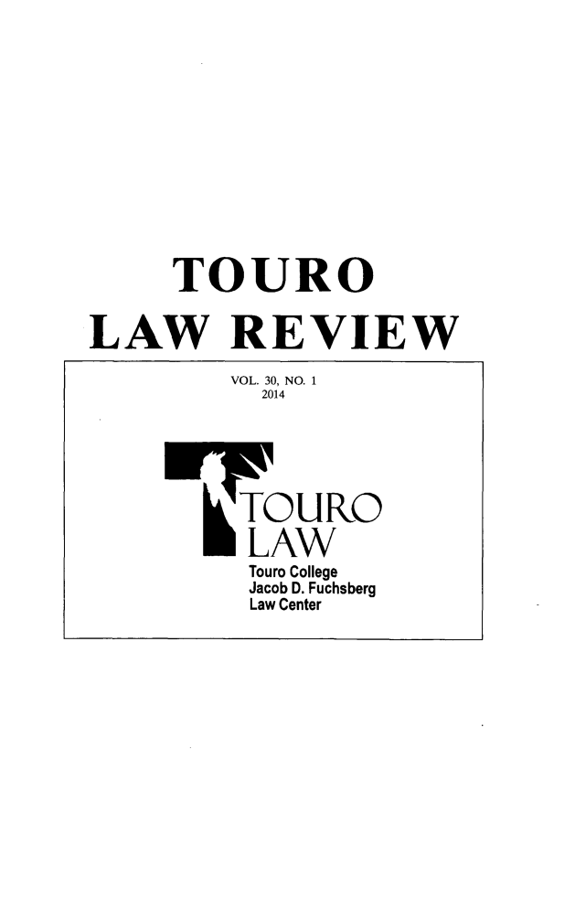 handle is hein.journals/touro30 and id is 1 raw text is: TOURO