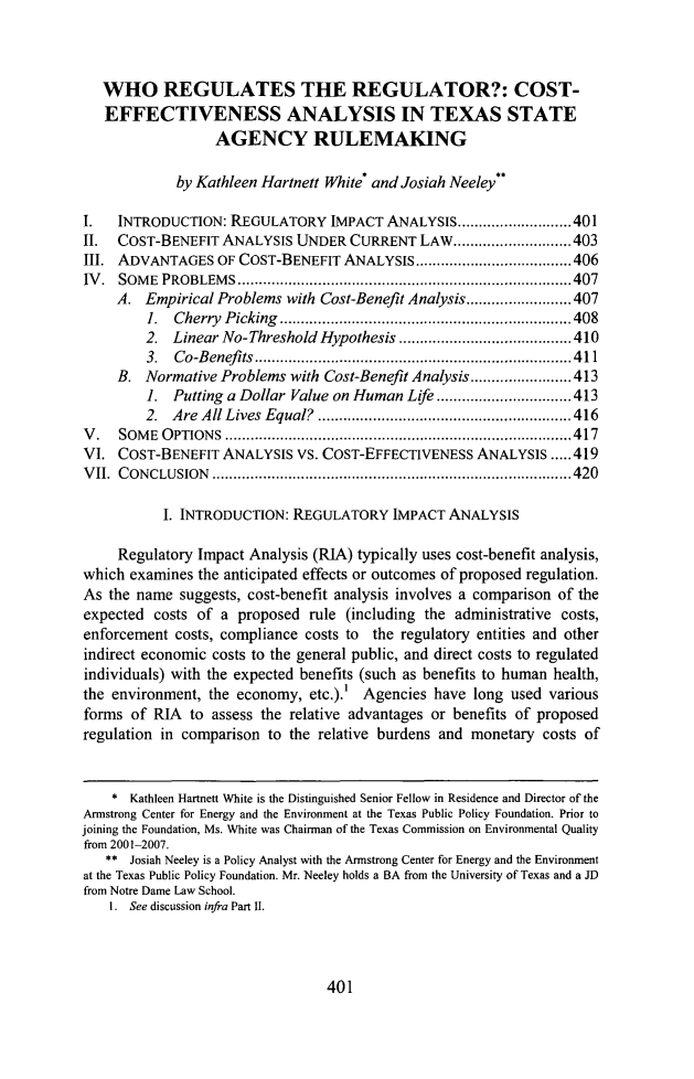 handle is hein.journals/ttalr14 and id is 423 raw text is: WHO REGULATES THE REGULATOR?: COST-