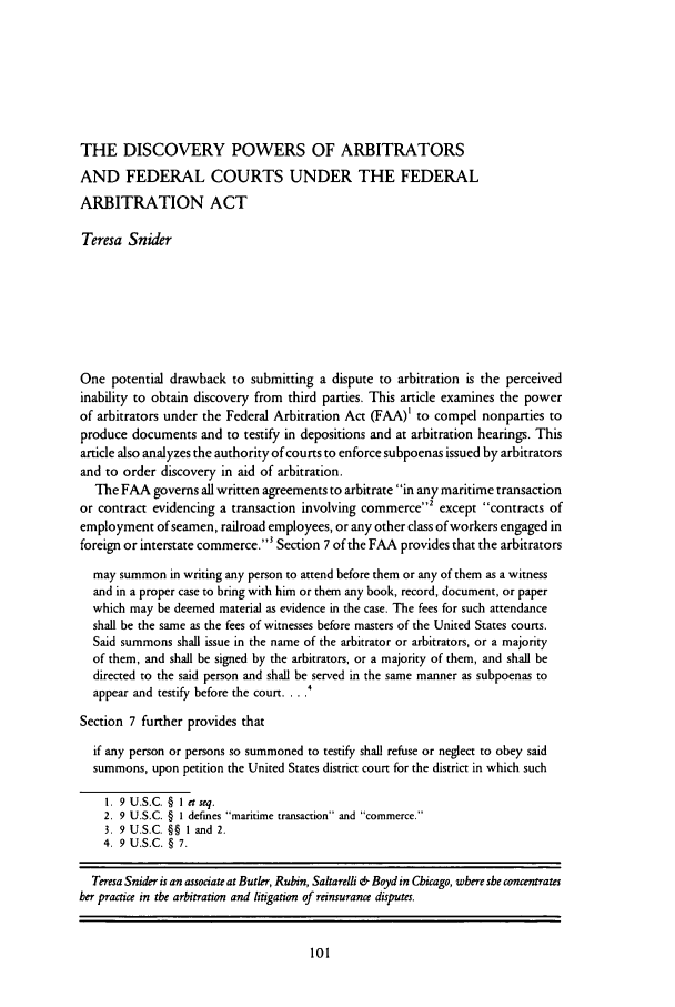 The Discovery Powers of Arbitrators and Federal Courts ...