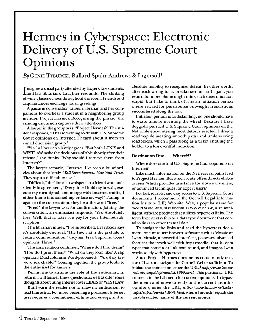 Hermes in Cyberspace Electronic Delivery of U.S. Supreme ...
