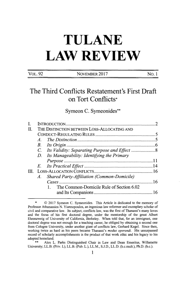 92 Tulane Law Review 2017-2018