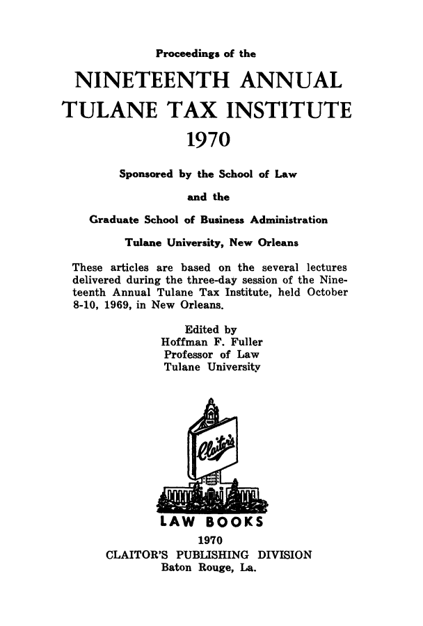handle is hein.journals/tutain19 and id is 1 raw text is: Proceedings of the