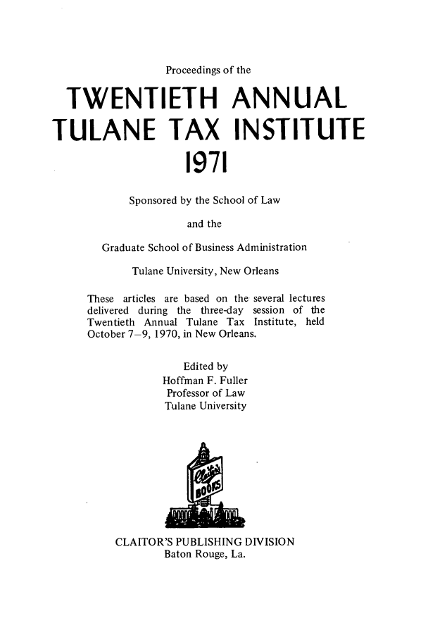 handle is hein.journals/tutain20 and id is 1 raw text is: Proceedings of the