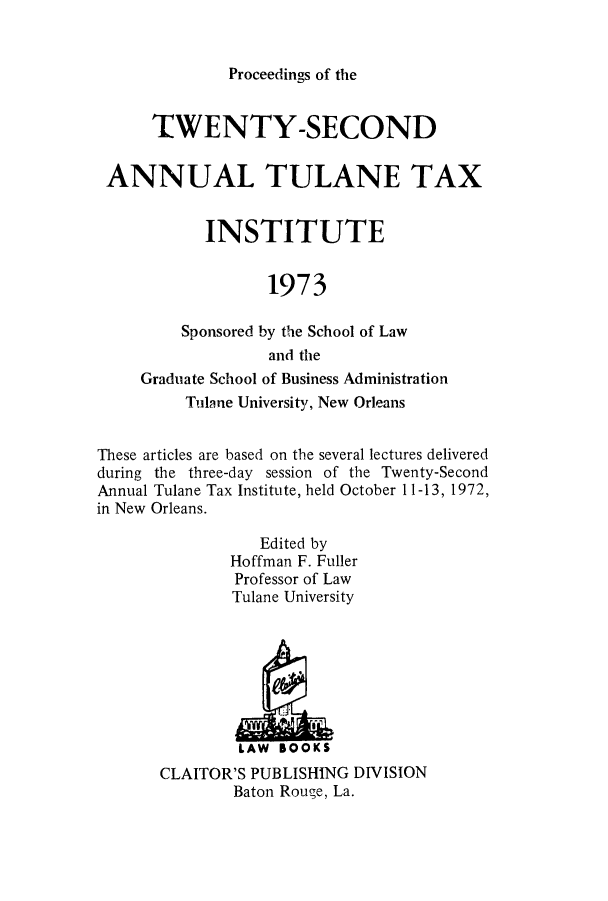 handle is hein.journals/tutain22 and id is 1 raw text is: Proceedings of the