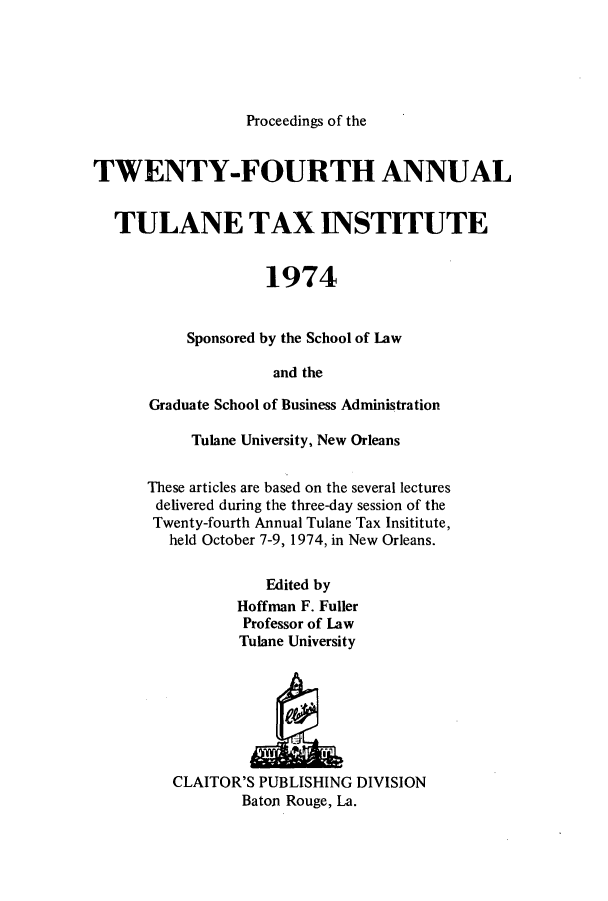 handle is hein.journals/tutain24 and id is 1 raw text is: Proceedings of the