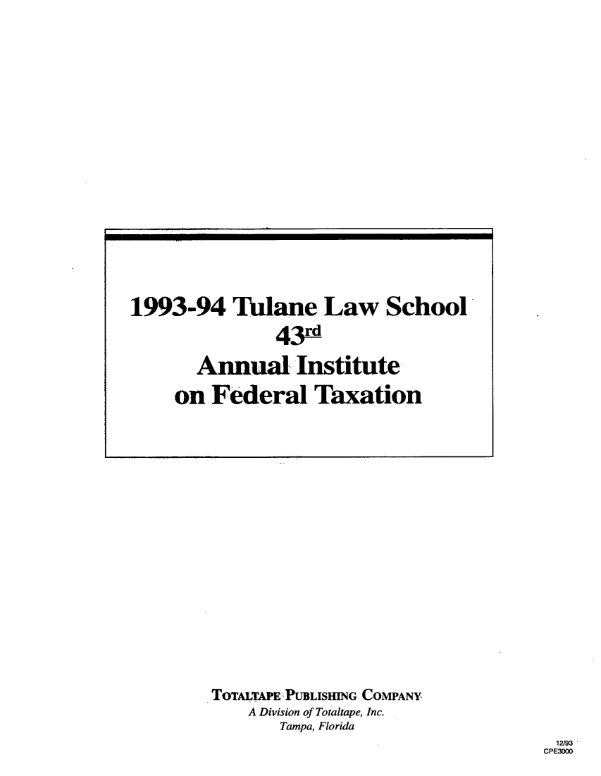 handle is hein.journals/tutain43 and id is 1 raw text is: TOTALTAPE PUBLISHING COMPANY
