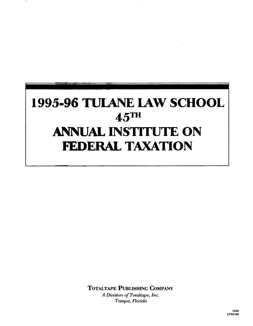 handle is hein.journals/tutain45 and id is 1 raw text is: TOTALTAPE PUBLISHING COMPANY