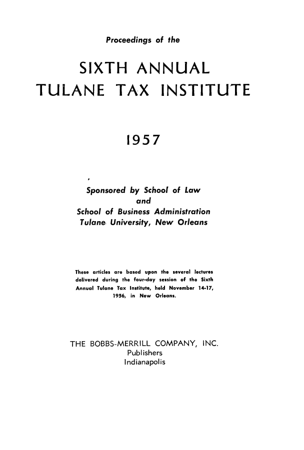 handle is hein.journals/tutain6 and id is 1 raw text is: Proceedings of the
