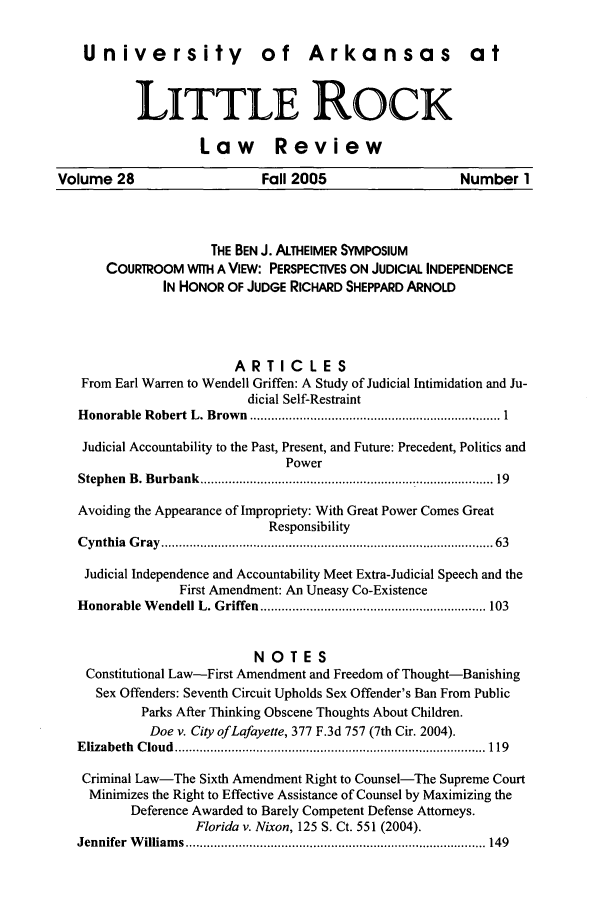 handle is hein.journals/ualr28 and id is 1 raw text is: University of Arkansas at