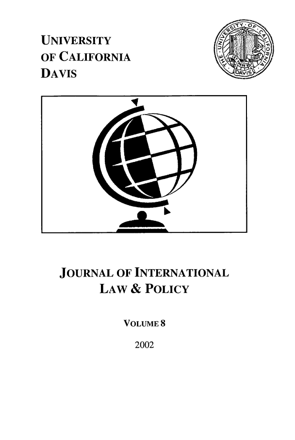handle is hein.journals/ucdl8 and id is 1 raw text is: UNIVERSITY