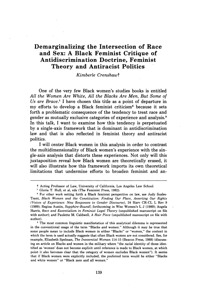 demarginalizing the intersection of race and sex a black feminist  what is