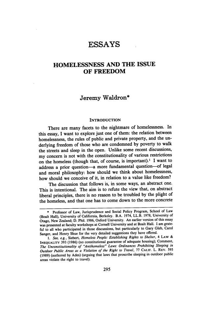 Homelessness and the issue of freedom essay 39 ucla law review 1991 1992