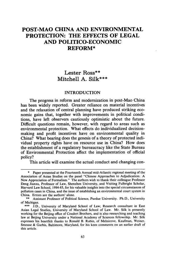 handle is hein.journals/uclapblj4 and id is 73 raw text is: POST-MAO CHINA AND ENVIRONMENTAL