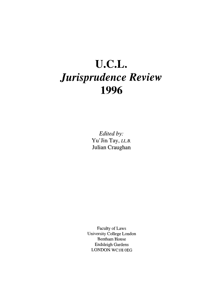 handle is hein.journals/ucljurev3 and id is 1 raw text is: U.C.L.