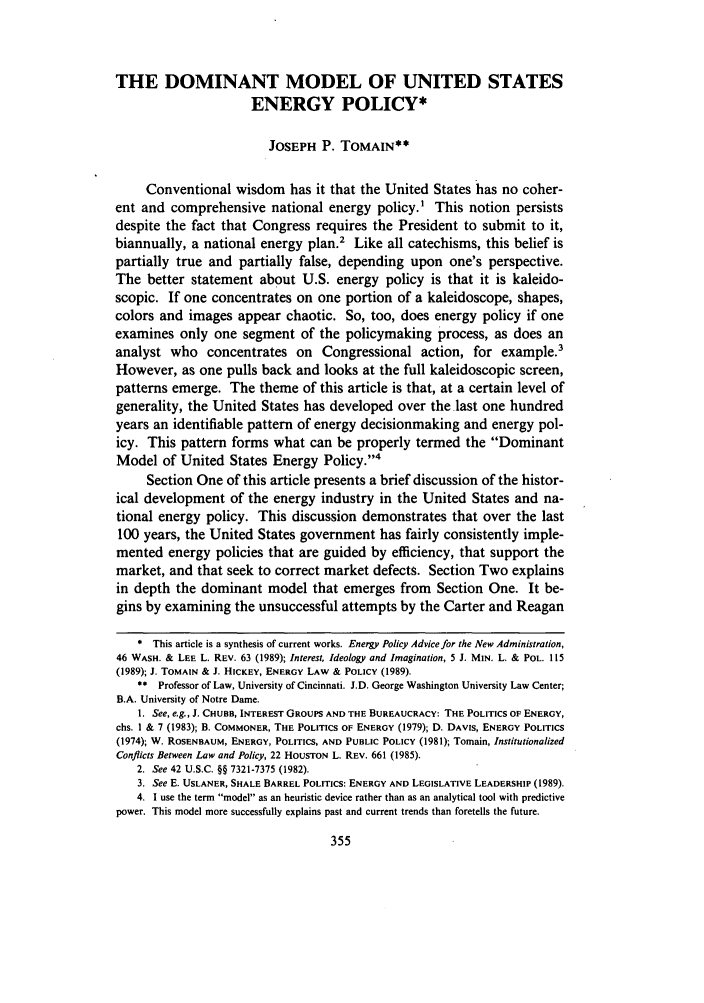 handle is hein.journals/ucollr61 and id is 365 raw text is: THE DOMINANT MODEL OF UNITED STATES