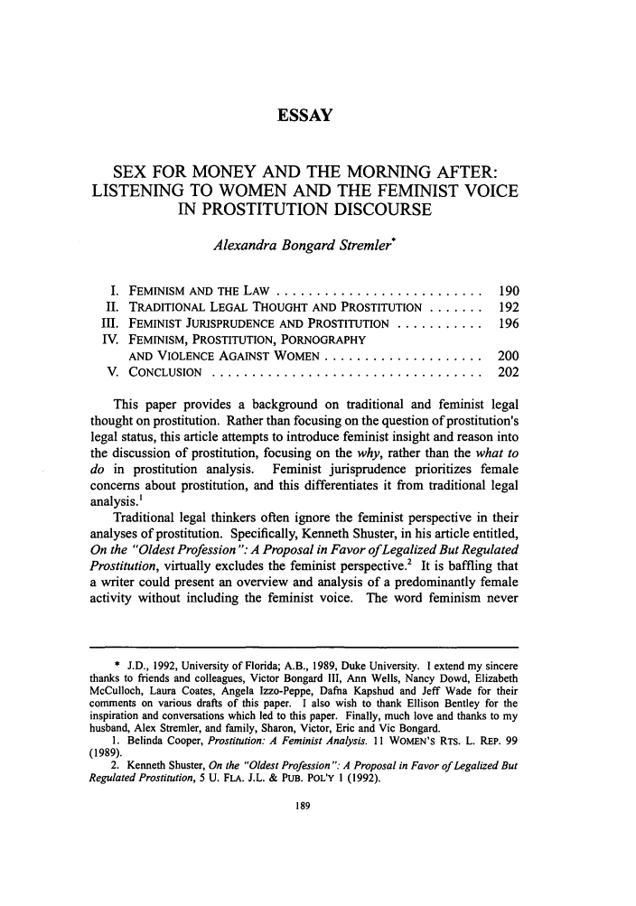 Sex For Money And The Morning After Listening To Women And The  Handle Is Heinjournalsufpp And Id Is  Raw Text Is Essay