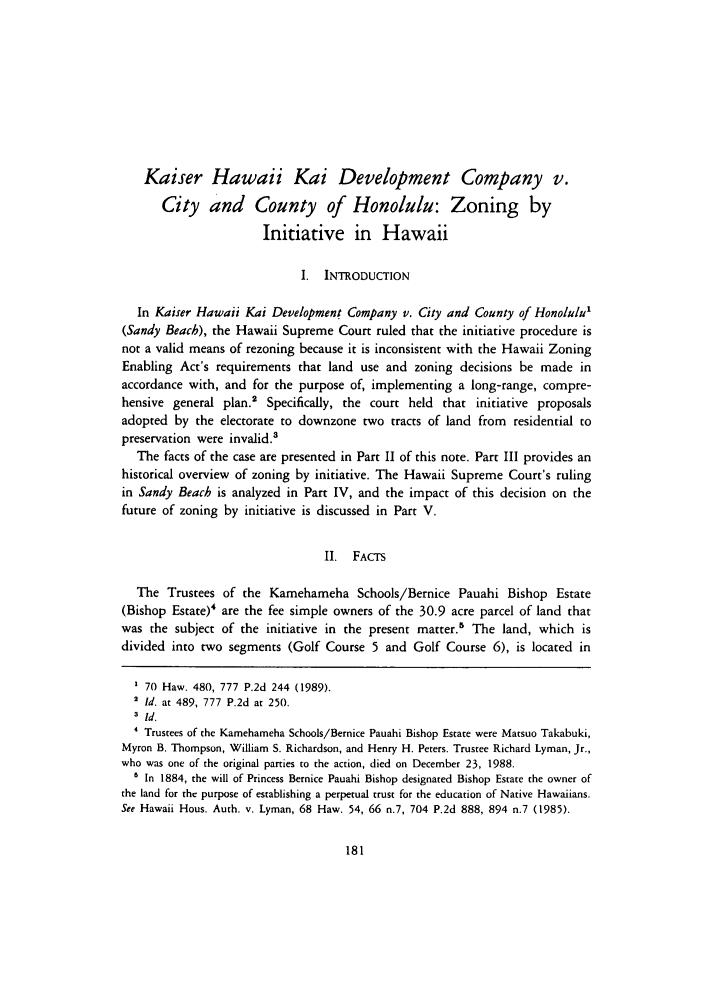 Kaiser Hawaii Kai Development Company v  City and County of