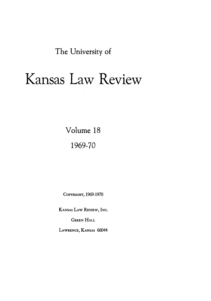handle is hein.journals/ukalr18 and id is 1 raw text is: The University of