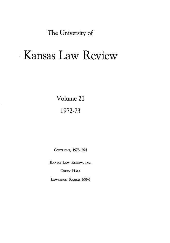 handle is hein.journals/ukalr21 and id is 1 raw text is: The University of