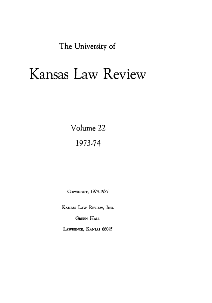 handle is hein.journals/ukalr22 and id is 1 raw text is: The University of
