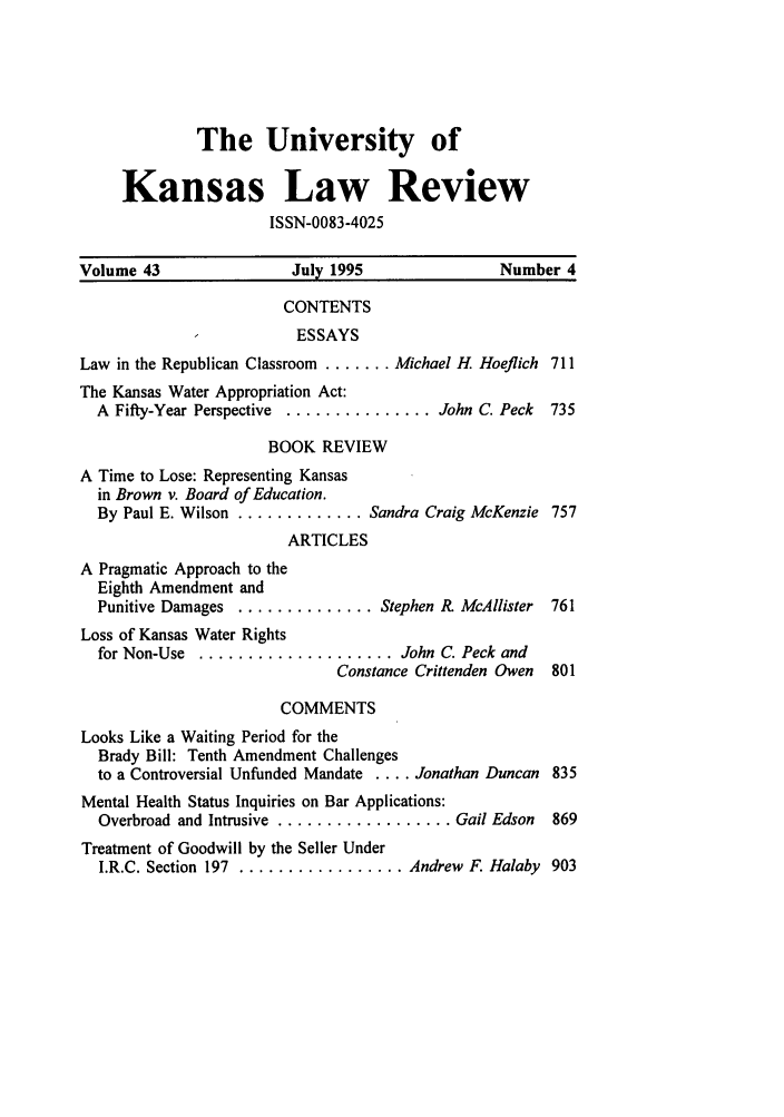 Table Of Contents  Issue   University Of Kansas Law Review  Handle Is Heinjournalsukalr And Id Is  Raw Text Is The English Language Essays also Teaching Essay Writing To High School Students  Romeo And Juliet English Essay