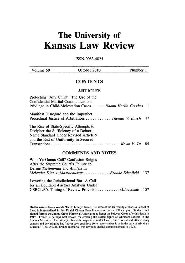 handle is hein.journals/ukalr59 and id is 1 raw text is: The University of