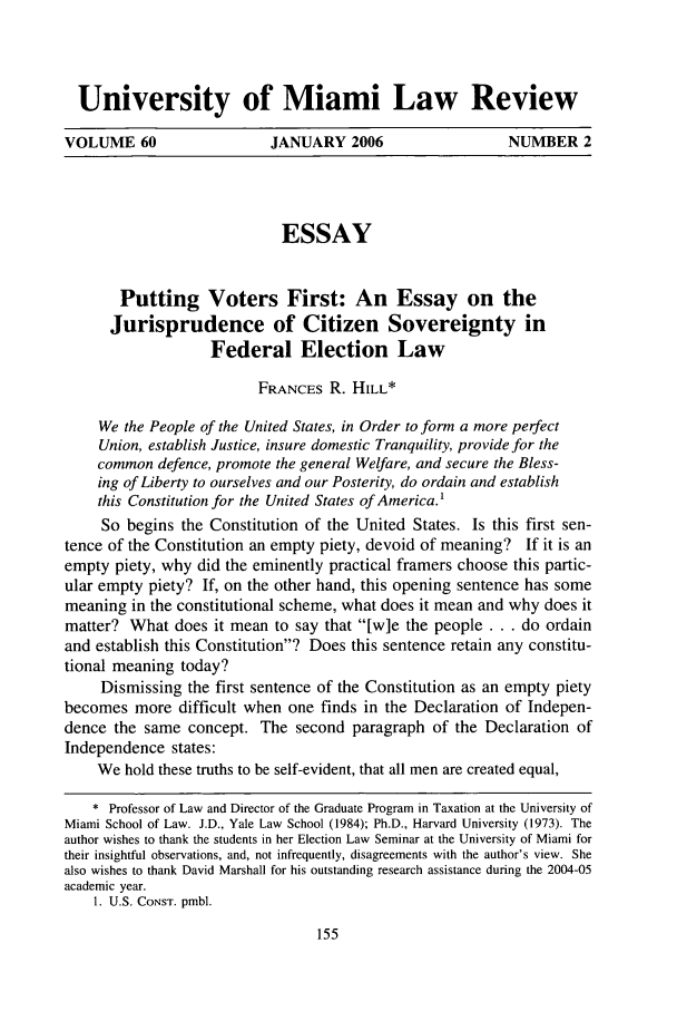 Putting Voters First An Essay On The Jurisprudence Of Citizen  Handle Is Heinjournalsumialr And Id Is  Raw Text Is University Good High School Essay Topics also High School Essay Writing  Essay About Health