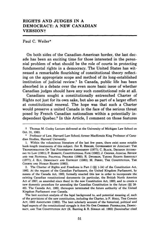 handle is hein.journals/umijlr18 and id is 63 raw text is: RIGHTS AND JUDGES IN A