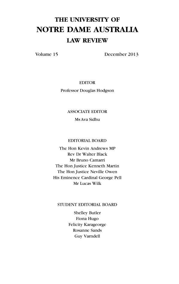 handle is hein.journals/undauslr15 and id is 1 raw text is: THE UNIVERSITY OF