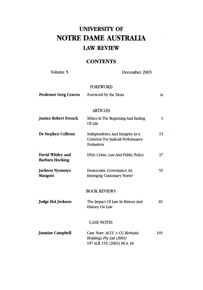 handle is hein.journals/undauslr5 and id is 1 raw text is: UNIVERSITY OF