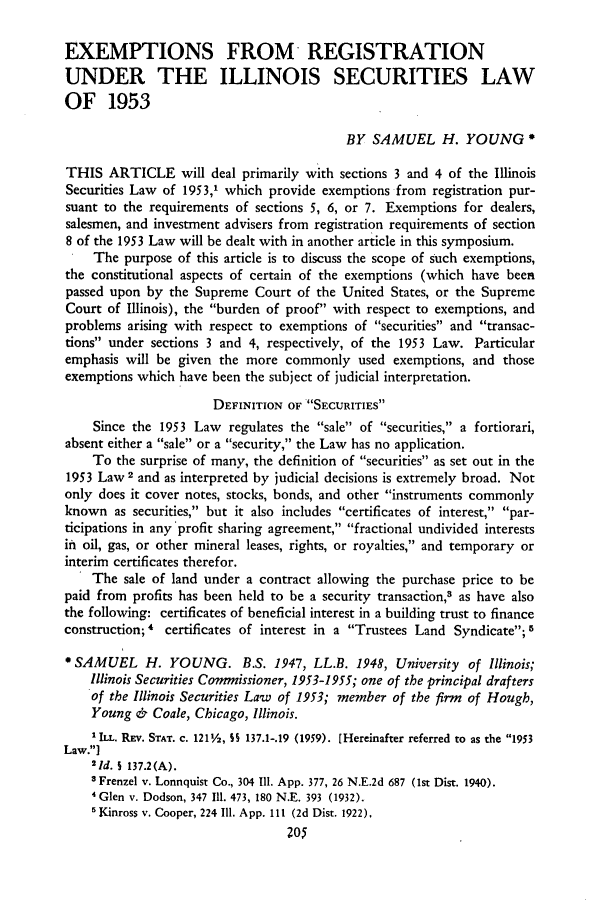 handle is hein.journals/unilllr1961 and id is 209 raw text is: EXEMPTIONS FROM REGISTRATION