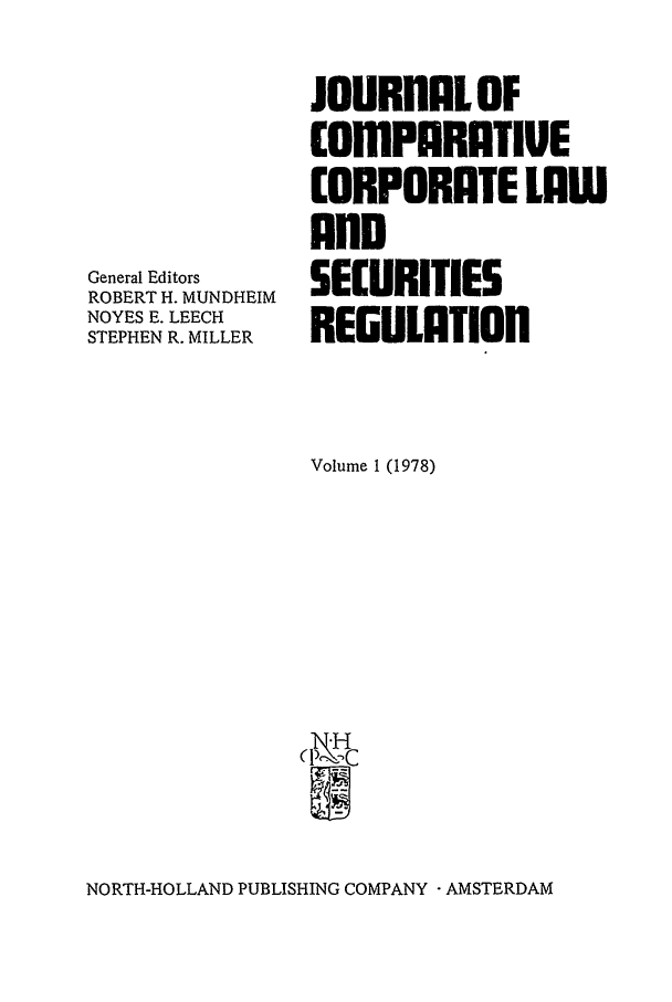 handle is hein.journals/upjiel1 and id is 1 raw text is: General Editors
