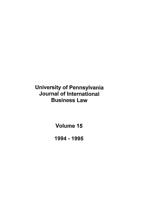 handle is hein.journals/upjiel15 and id is 1 raw text is: University of Pennsylvania