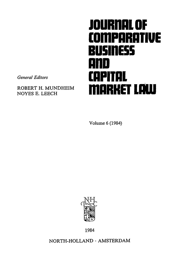 handle is hein.journals/upjiel6 and id is 1 raw text is: General Editors