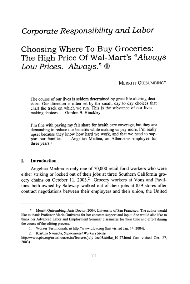 Choosing Where to Buy Groceries: The High Price of Wal-Mart's Always